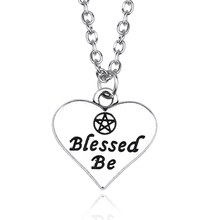 Engraved Blessed Be Pentagram Charm Pendant Star Love Heart Choker Necklaces Inspiring Jewelry Best Gifts For Women Men Colar(China)