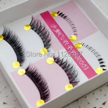 2016 New style 3 pairs of women cross fasle Eyela shes Daily Handmade Fake Eye Lashes Makeup Beauty Cosmetic Tool Freeshipping(China)