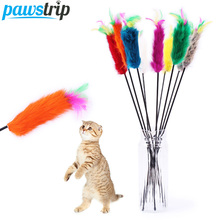 10Pcs/lot Interactive Pet Cat Toys Soft Rabbit Fur Cat Teaser Colorful Feather Cat Stick Toy(China)
