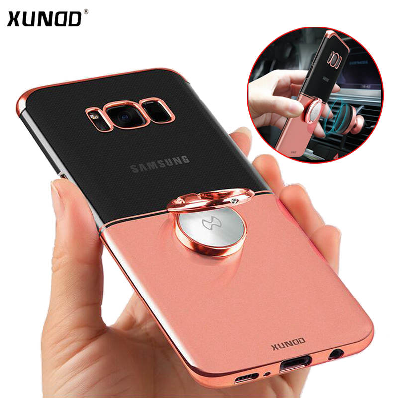Xundd Clear Ring Holder Case Galaxy s8 s8 plus/S9 S9 Plus Hard PC cover samsung s9 s9+ case fit Magnetic car holder