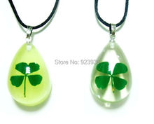FREE SHIPPING Real Shamrock 4 PCS Four Leaf Lucky Clover Pendant Drop Glow Drop Shape Girl Lady Gift Boy Present High Quality(China)
