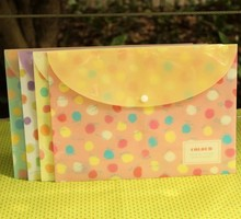 Hot sale sweet design good quality wholesale   Colour Water wave Dots series A4 PVC Waterproof documents file bagFile folder .cu