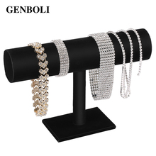 GENBOLI Black Velvet T Bar Rack Organizer Hard Stand Holder for Bracelet Chain Necklace Watch Fashion Jewelry Display Packgaing