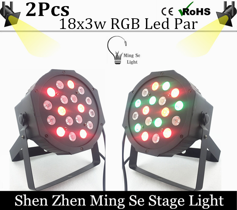 LED Par light 2pcs /lots 18x3W 54W High Power RGB Par Light With DMX512 Master Slave Led Flat DJ Equipments Controller<br><br>Aliexpress