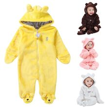 Autumn Winter Baby Rompers Bear Newborn Baby Coral Fleece Brand Hoodies Jumpsuit Baby Girls Boys Romper Toddle Clothing