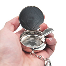 1 X Creative Round Portable Cigarette Ashtrays Stainless Steel Outdoors Pocket Ashtray with Keychain Cinzeiro