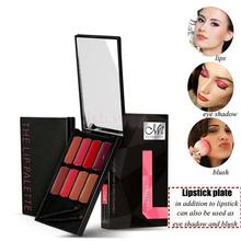 8 Colors Cosmetic Lip Palette Kit Lipstick Cream with Makeup Brushes #B