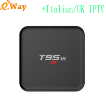 T95M quad core Android 6.0 tv box wifi set top box with spanish IPTV code Europe ip tv subscription france turkey uk APK package(China)