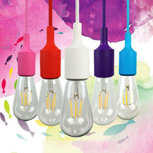 Colorful E27 Socket LED Pendant Light Suspension Drop Lamp Modern Vintage Edison Bulbs Bar Restaurant Silicone Pendant Lamp
