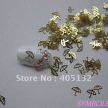 MS-155 Free Shipping Metal Gold Umbrella Nail Art Metal Sticker Nail Art Decoration Fancy Outlooking