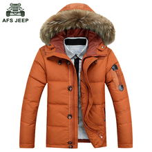 Free Shipping 2017 New Men's Down Jacket Brand Thick Fur Collar Hooded Down Parkas Fashion And Warm Coat 135D