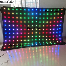 P18cm(7.1inch) 2X3M(H6.6xW9.8ft) LED video curtain DMX/REMOTE/SD card for cabina dj booth/pantalla/church stage backdrops/screen