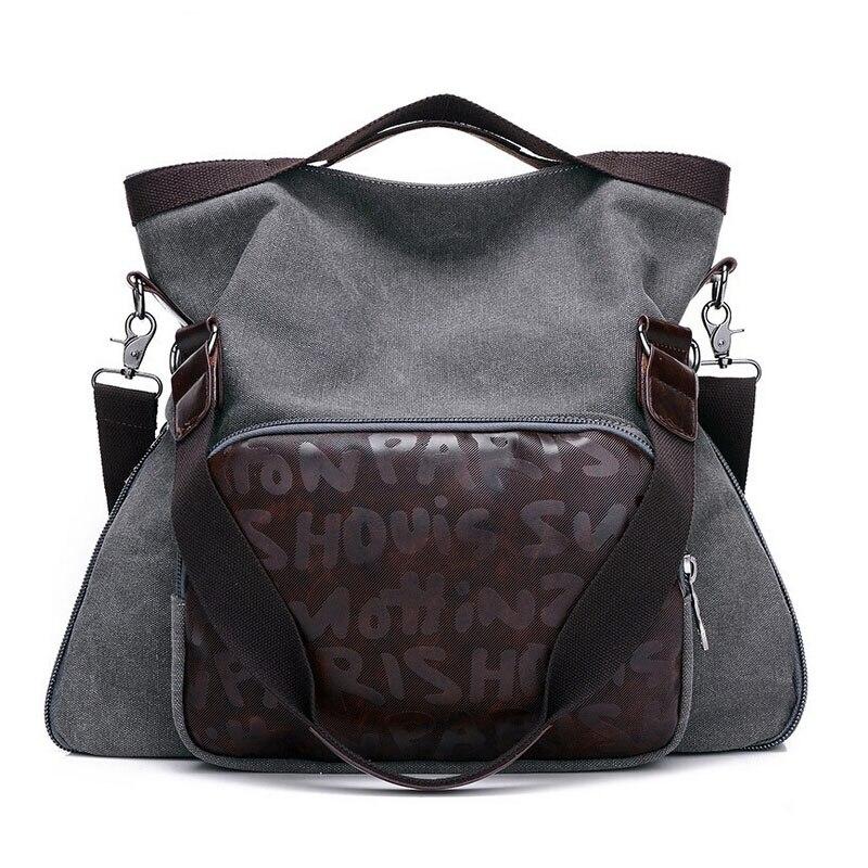Vintage Women Handbag High Quality Canvas Shouler Bag Large Capacity Lady Work Bag Grey Blue Green Female Tote Bag For Shopping<br>