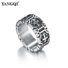 YANGQI Jesus Cross Engraving Stainless Steel Ring for Men Antique Silver Punk Biker Jewelry Mens Vintage Punk Christ Bijoux