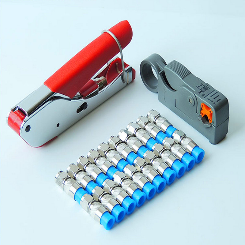 New Multitool Wire Stripping Squeezing Pliers Coaxial Cable Cold Press Clamp RG59 RG6 Cable TV Crimping Tool Set with 20 F Heads(China)