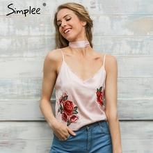 Simplee Satin embroidery camisole tank top Halter V neck bustier top Backless loose women tops 2017 streetwear(China)
