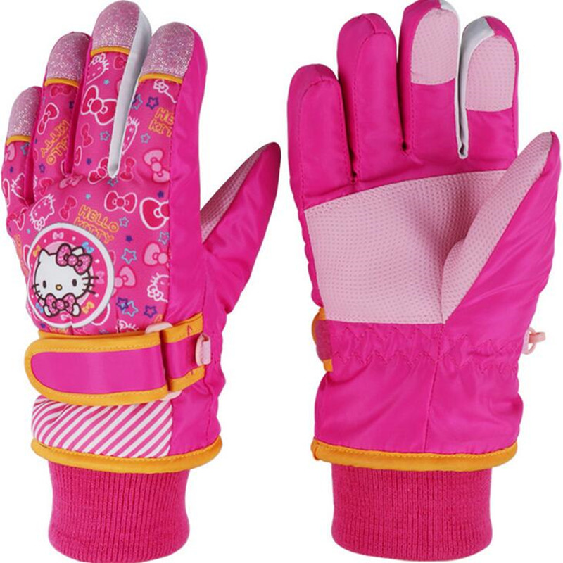Image Kids Full Finger winterstopper warm skiing snowborad gloves boys driving  mittens inverno water proof snow gloves bicycle girls