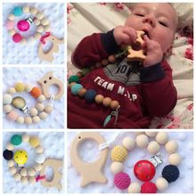 2017 Baby toothbrush Color Chain Teething Ring Training Toothbrushes Natural Wood Beads Safe for Teething Toys for Baby Smooth
