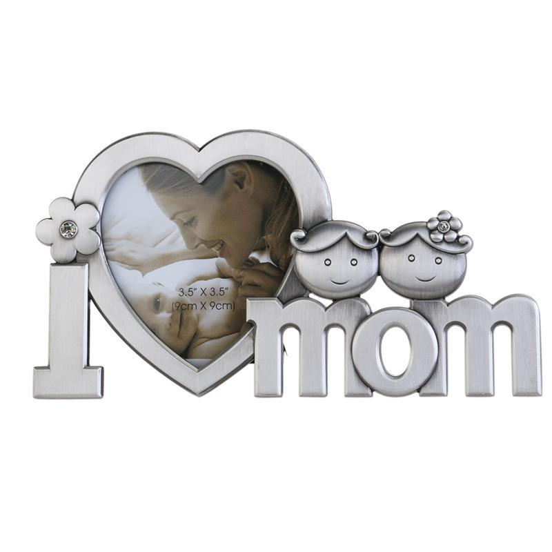 2018 I Love Mom Metal Picture Photo Frame Home Decoration Silver ...