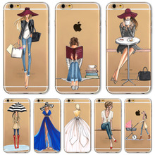 For iPhone 8 7 6 6S 5 5S SE 7Plus 6sPlus Phone Case Cover Fashion Dress Shopping Girl Transparent Soft Silicon Mobile Phone Bag(China)