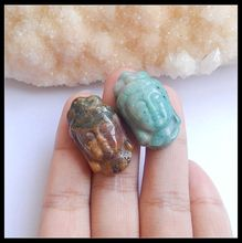 Wholesale 2Pcs Natural Stone Ocean Jasper Chrysocolla Guanyin Head Necklace Pendants 30x12x9mm 15.15g Fashion Jewelry Accessory