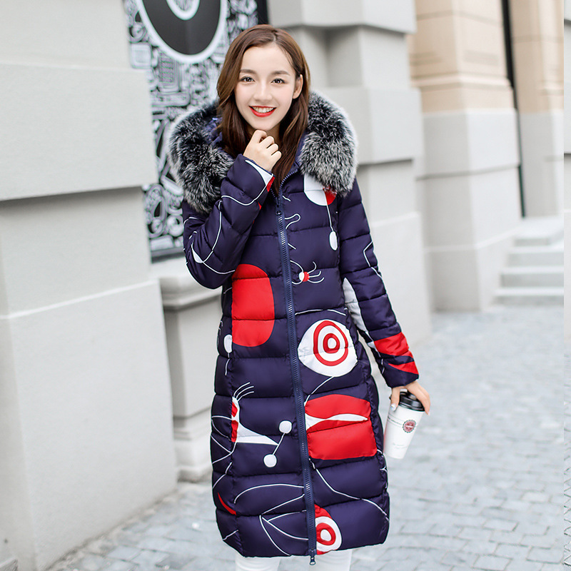New2017 Fashion Winter Parkas Graffiti Print Hooded Fur Collar Jacket Double Clubman Long Coat College Wind Style Female OutwearÎäåæäà è àêñåññóàðû<br><br>