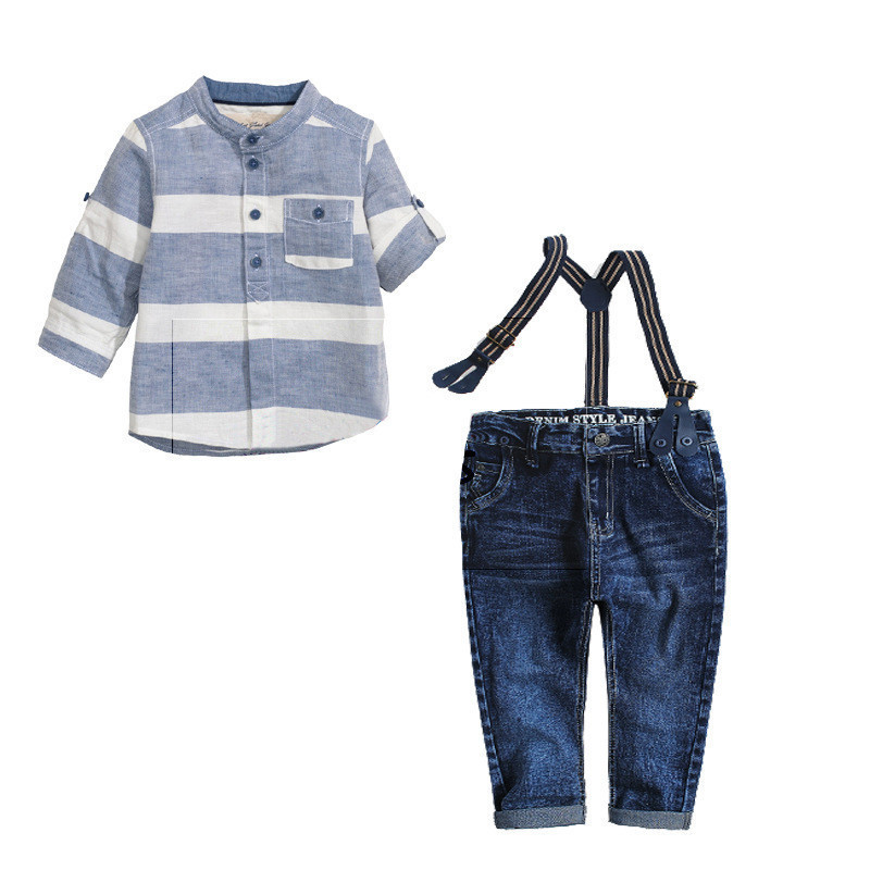 European and American childrens clothing in summer with blue striped T-shirt strap cowboy boy three-piece suit clothing sets<br><br>Aliexpress