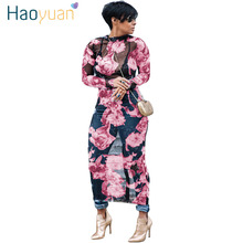 Buy HAOYUAN Plus Size Floral Mesh Women Maxi Dress Long Sleeve Vestidos See Club Sexy Dress Summer Party Long Beach Dresses for $11.89 in AliExpress store