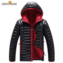 UNIVOS KUNI Casual Ultralight Men White Duck Down Jacket 2017 Autumn Winter Men Slim Hooded Headphones Down Jacket Overcoat O173(China)