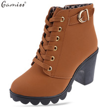 Gamiss  Zipper Ladies Thick High Heel Ankle Boots Stylish Lace Up square toe thick heel Solid women boots high heel snow boots