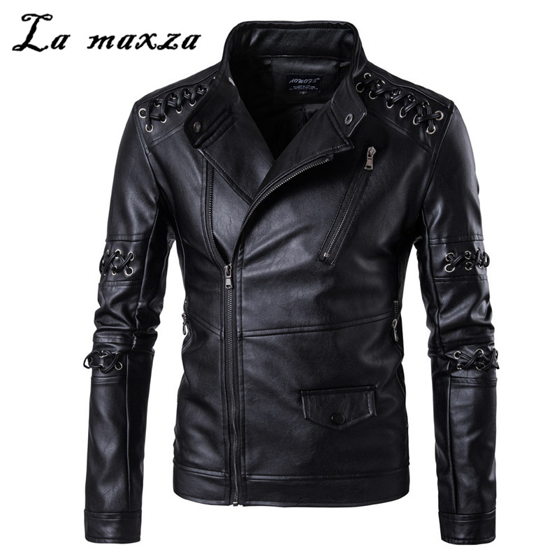 2019 Fashion Streetwear Moto Parka Black Oversized Jacket PU Leather Mans Coat 4xl 5xl Winter Jacket