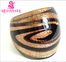 RED SNAKE Ring Handmade Golden sand with Purple line Murano Glass Rings(China)