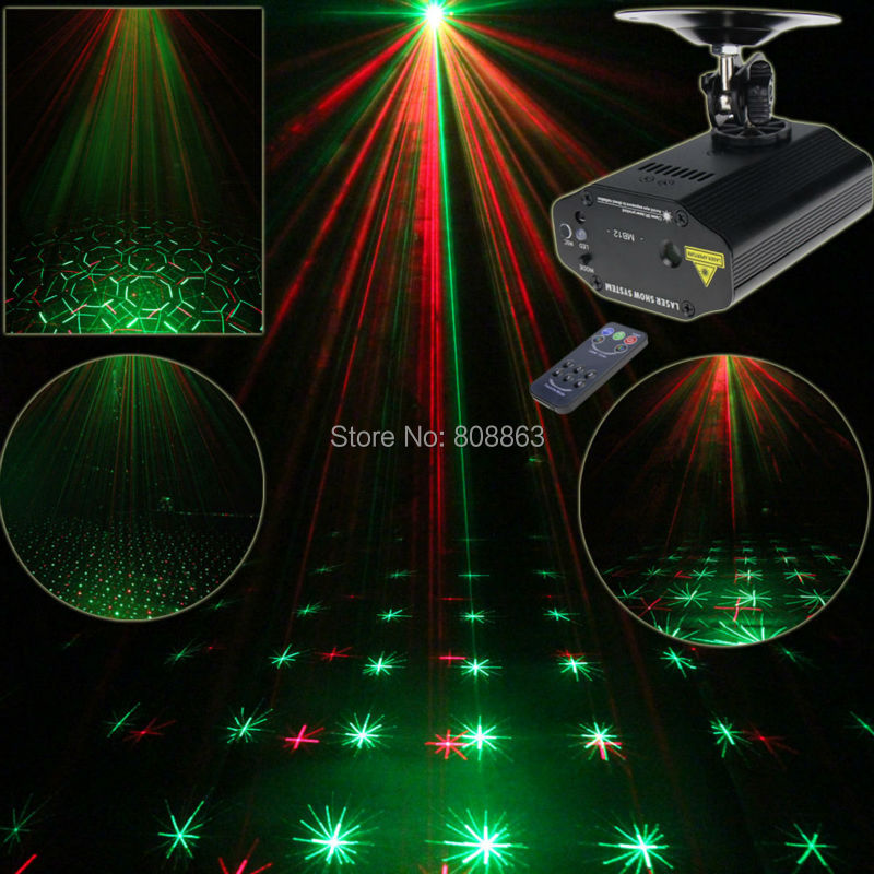 New Arrival Mini R&amp;G Laser Projector lines Patterns Gobos Dance Disco Bar Family Party Xmas DJ environment stage Light Show T8<br>