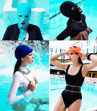 ITFABS 2017 New Summer Diving Facekini Swim Cap Sun Block Face Mask Swimming Cap Nylon Anti UV Swimming Diving Cap  Available