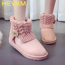 HEVXM Female Short Tube Winter Warm Cotton Shoes Women Boots Thick Flat With Short Tube Thickening Plus Velvet Snow Boot(China)