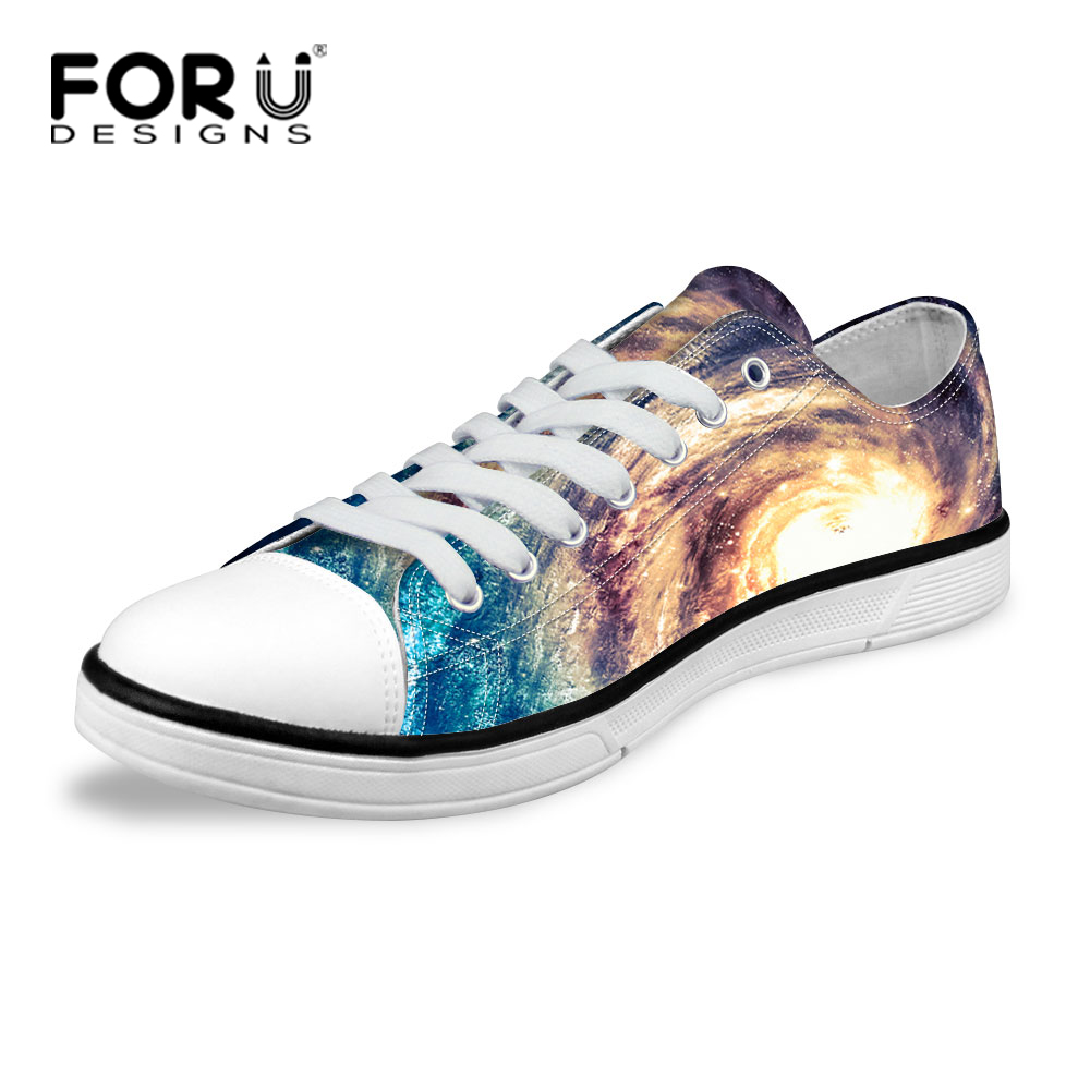 Fashion Galaxy Star Universe Space Canvas Shoes Spring Autumn Flat Walking Shoes for Women Low Top Ladies Canvas Shoes<br>