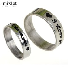 I Love You Letter Carved Stainless Steel Finger Rings for Women and Men Anillos Mujer Silver Couple Rings Jewelry