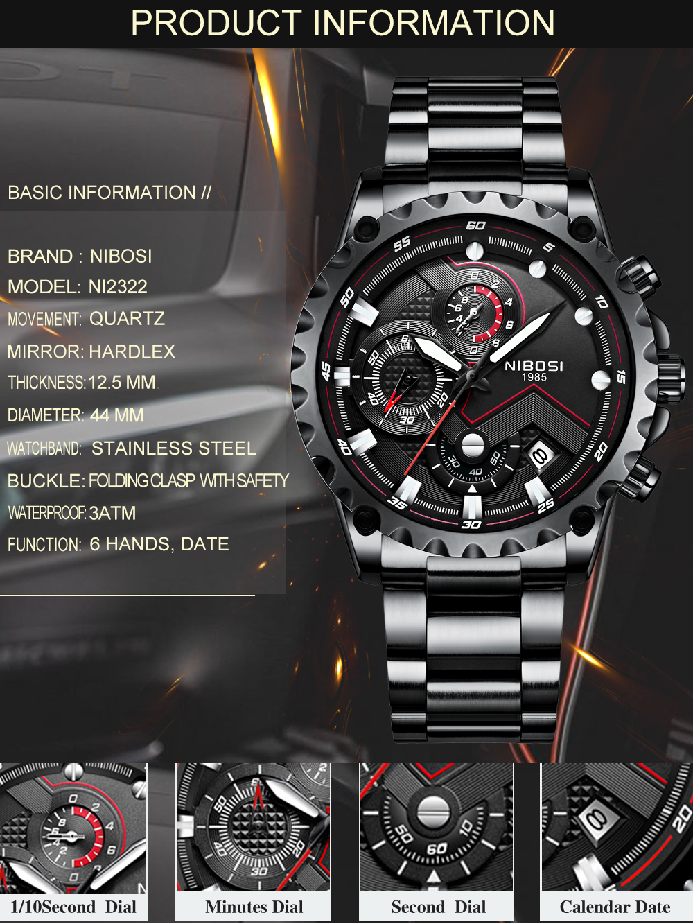 Military Watches Men Quartz Analog Men Watches Stainless Steel Time Date Clock Men Luxury Brand Hot Famous Brand Watches NIBOSI  (3)