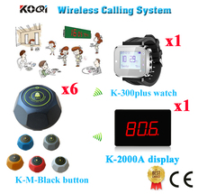 Wireless Pager System 1 Sets Number Screen With Watch And 6 Table Transmitter Free Shipping(1 display+1 watch+6 call button)