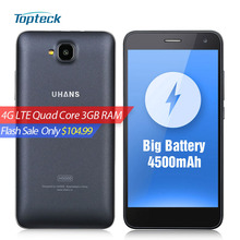 UHANS H5000 4G LTE 4500mAh Battery 5.0 inch HD 1280*720 Smartphone Android 6.0 MTK6737 Quad Core Cellphone 3GB+32GB 8MP Mobile Phone - ShenZhen TopTeck Technology store