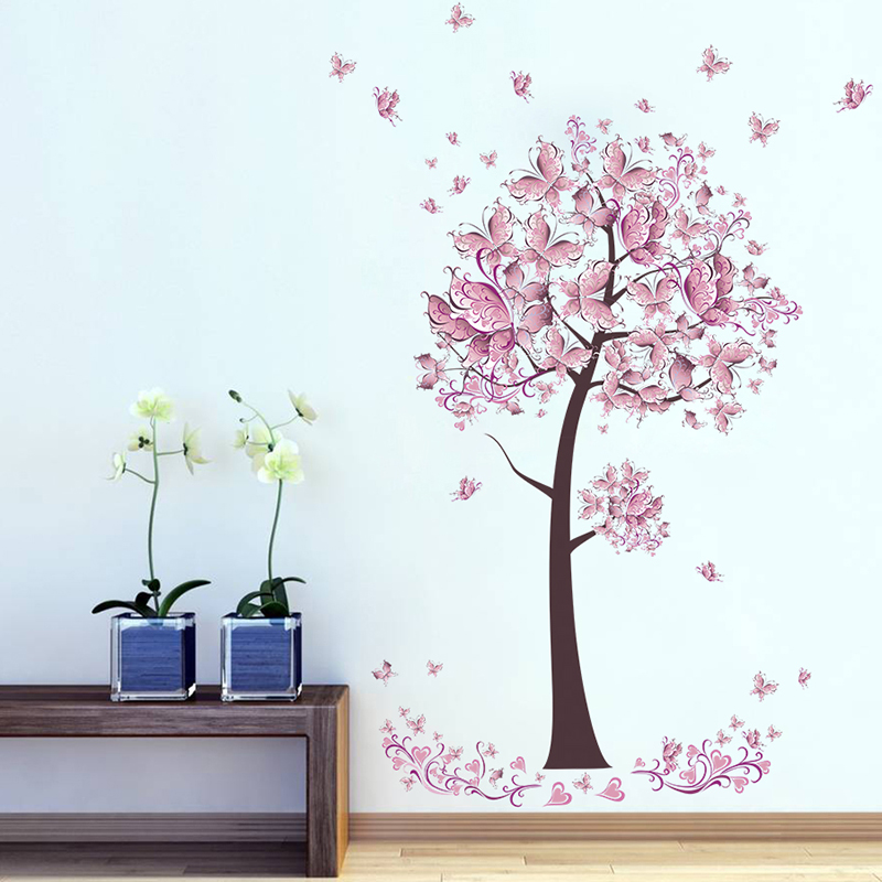 HTB14lCbxpuWBuNjSszbq6AS7FXaH - Pink butterfly flower Tree Wall Stickers