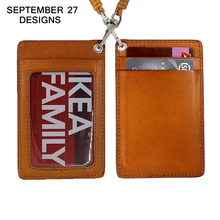 ID/Badge card holder Genuine Leather luxury brand men credit card holder women name card case lanyard Retractable(China)
