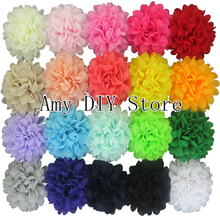 MyAmy 40pcs/lot  4.5'' Alternative Chiffon Hair Flowers Headband Flowers WITHOUT Clips For Girls Hair Accessories Free Shipping