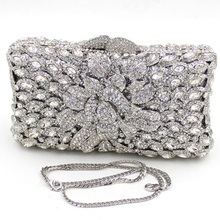 Mini Size Silver Clutch Bag for Women UK Sale White Silver Clutch Purse for Wedding Days Floral Crystal Evening Bags Free Ship