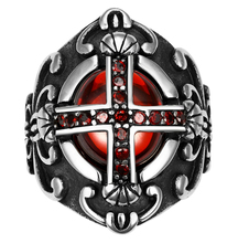 Men's Class Vintage Luxury Crusader Templar Cross Christian Christianity Red Stone CZ Zircon Crystal 316L Stainless Steel Ring(China)