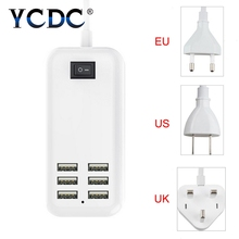 YCDC EU US plug 5V 4A 6 Ports USB Wall Charger AC Power Adapter 1.5M long cable ON/OFF Switch travel home carregador