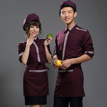 Long Sleeve Hotel Staff Uniform Hotel Reception Uniform Women Men Chinese Restaurant Waiter Uniform