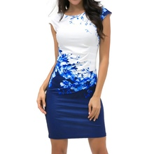 Summer Flower Print Sheath Dress Women Bodycon Plus Size Clothing Chic Elegant Sexy Fashion O-neck Dresses(China)