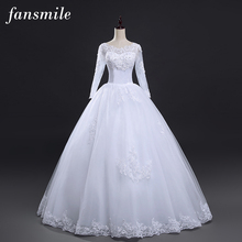Fansmile Free Shipping Lace Wedding Dresses Long Sleeve 2017 Plus Size Vintage Belt Bridal Wedding Gowns Real Photo