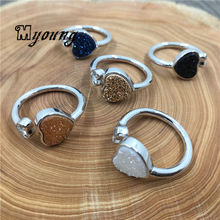 Adjustable Heart-shaped Quartz Druzy Titanium Rings,Agates Drusy Rings For Wowen MY1786(China)